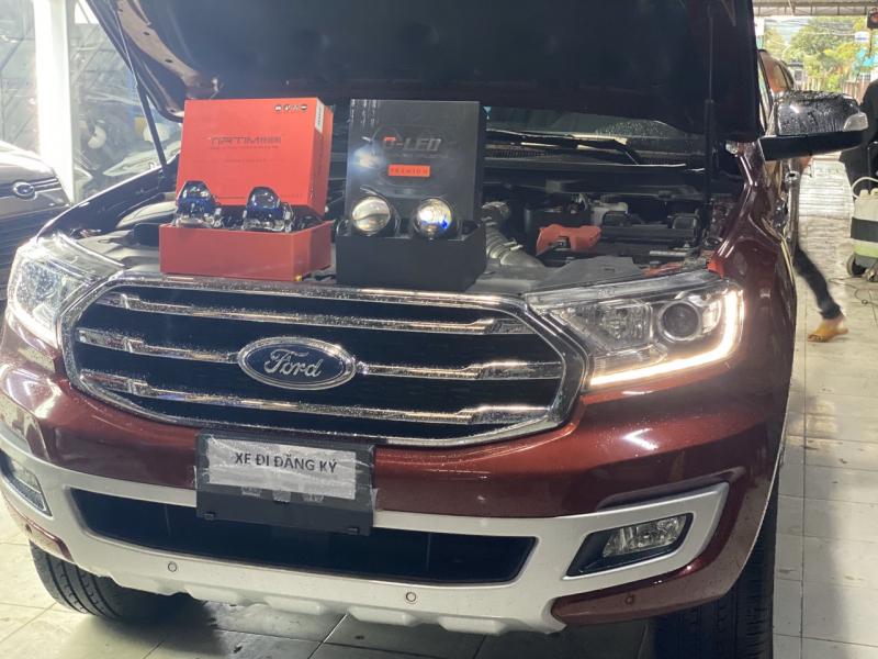 Độ đèn nâng cấp ánh sáng Nâng Cấp Ánh sáng Tirtim TLS350 + Bi Gled Premium xe Everest