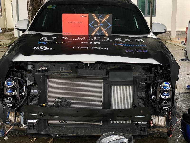 Độ đèn nâng cấp ánh sáng Nâng Cấp Ánh sáng Tirtim TLS350 + Bi Gled X xe Santafe